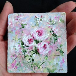 Miniature Painting Abstract Roses - postage included Australia wide