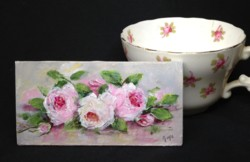 Miniature Painting (3mm thick board) Roses laying - postage included Australia wide