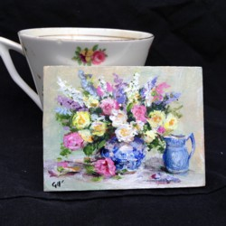 Miniature Painting (3mm thick board) Flower Still life - postage included Australia wide