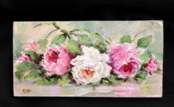 Miniature Painting (3mm thick board) Roses laying 2 - postage included Australia wide