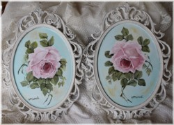 Original pair of Rose Paintings in Scrolly Italian frames - Postage is included Australia wide