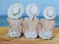 Original Painting on Canvas - 3 Friends at The Beach - Postage is included Australia Wide