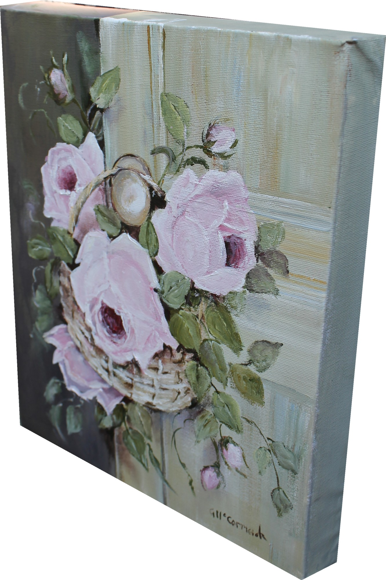 Original Painting Roses in a Basket