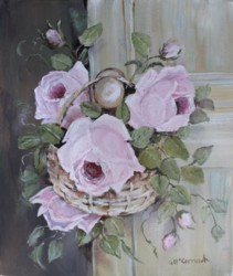 "Original Painting on Canvas -""Roses in a Basket"" - Postage is included Australia Wide"