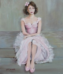 "Original Painting on Canvas -""The Pink Gown"" - Postage is included Australia Wide"