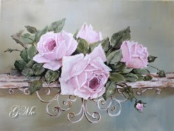 """Original Painting on Canvas -""""Roses on a Bench"""" - Postage is included Australia Wide"""