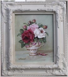 ORIGINAL Painting - Favourite Roses in a Tea Cup - FREE postage Australia wide