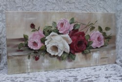"Original Painting on Canvas -""Assorted Roses"" - Postage is included Australia Wide"