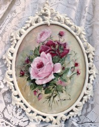 "Original Painting ""Roses"" in Scrolly Italian Frame - Postage is included Australia wide"