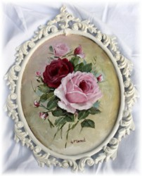 "Original Painting ""2 Roses"" in Scrolly Italian Frame - Postage is included Australia wide"