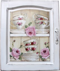 Original Painting on a Cupboard door - Cups, Saucers & Roses - Postage is included Australia wide