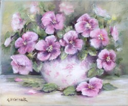 "Original Painting on Canvas -""Pansies"" - Postage is included Australia Wide"
