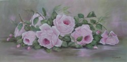 "Original Painting on Canvas -""Blooming Pink Resting Roses"" - Postage is included Australia Wide"