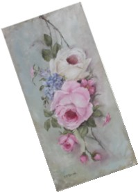 "Original Painting on Canvas -""Vintage Hanging Roses"" - Postage is included Australia Wide"