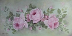 "Original Painting on Canvas -""Floating Rose Blooms"" - Postage is included Australia Wide"