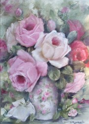"Original Painting on Canvas - ""Blooming Roses"" - Postage is included Australia Wide"