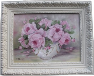 "Original Painting - ""Bowl of Pink Roses"" - Postage is included Australia wide"