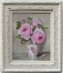 ORIGINAL Painting - Roses in a China Vase - FREE postage Australia wide