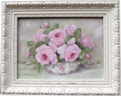 "Original Painting - ""Pink Roses in a Bowl"" - Postage is included Australia wide"