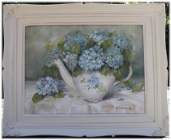 Original Painting - Hydrangeas in a Tea Pot - Postage is included in the price Australia wide