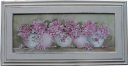Original Painting - Tea Cups & Pink Hydranges - FREE POSTAGE Australia wide