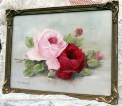 Original Painting - Vintage Framed Roses - FREE POSTAGE Australia wide