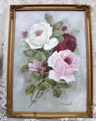 Original Painting - Vintage Roses - FREE POSTAGE Australia wide