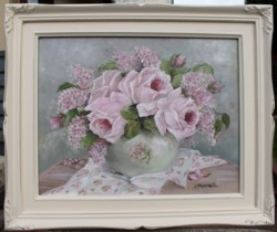 Original Painting - Pink Roses & Lilacs - Postage is included Australia Wide