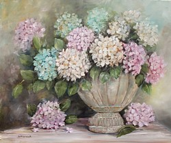 Original Painting on Canvas - Hydrangeas in a Rustic Urn - Postage is included Australia Wide