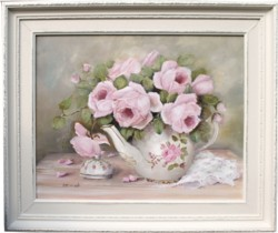 Original Painting - Roses in a Tea Pot - Postage is included in the price Australia wide