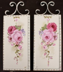 Pair of Original Paintings with scrolly hangers - Postage is included Australia wide