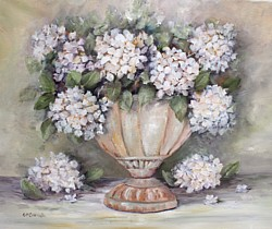 Original Painting on Canvas - Creamy Hydrangeas in a Rustic Urn - Postage is included Australia Wide