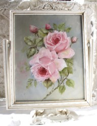 Original Painting -  Pair of Pink Roses in a Vintage Swing Frame - Postage is included in the price Australia Wide