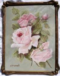 Original Painting - Roses in a Vintage Frame - FREE POSTAGE Australia wide