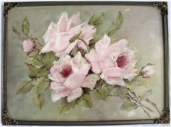 Original Painting - Rose Study in a Vintage Frame - FREE POSTAGE Australia wide