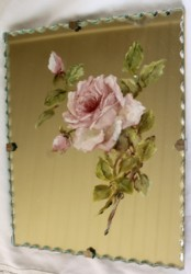 Hand Painted Roses on Scalloped edged Mirror - Postage is included Australia Wide