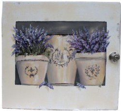 Original Painting on Old Cupboard door - Potted Lavender - Postage is included Australia wide