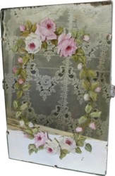 Hand Painted Roses on Old Mirror - Postage is included Australia Wide