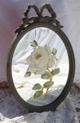 Hand Painted Rose on Vintage Mirror - Postage is included Australia Wide