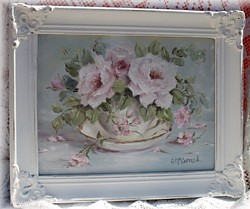 "Original Painting - ""Flowers in a Cup & Saucer"" - Postage is included Australia wide"
