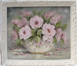 Original Painting - Bowl of Roses & Lilacs - Postage is included Australia wide