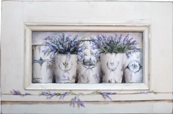 Original Painting on a rescued door panel - French Pots of Lavender - Postage is included Australia wide
