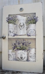 Original Painting on a rescued cupboard door - French Containers of Lavender - Postage is included Australia wide
