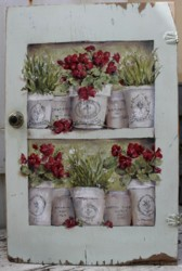 Original Painting on a rescued cupboard door - French Pots of Geraniums - Postage is included Australia wide