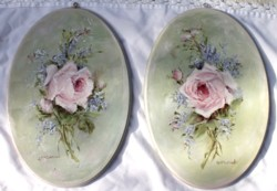 Pair of Hand Painted Plaques - Single Rose Stems - Postage is included Australia Wide