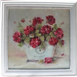 "Original Painting - ""Geraniums in a French Container"" - Postage is included Australia wide"