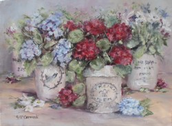 "Original Painting on Canvas -""Potted Blooms"" - Postage is included Australia Wide"