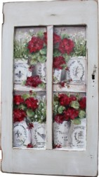 Original Painting on a rescued cupboard door - French Containers of Geraniums - Postage is included Australia wide