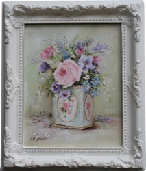Original Painting - Flowers in a Vintage Tin - Postage is included in the price Australia wide
