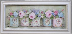 Original Painting - Flowers in Vintage Tins - Postage is included Australia wide
